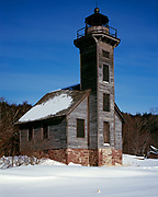 Winter view of wooden Grand Island East Channel Light built in 1868, Grand Island National Recreation Area, Hiawatha National Forest, Lake Superior, Upper Peninsula of Michigan.