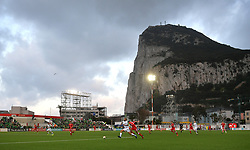 Republic of Ireland's David McGoldrick (left) and Gibraltar's Roy Chipolina (right) battle for the ball during the UEFA Euro 2020 Qualifying, Group D match at the Victoria Stadium, Gibraltar.