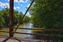 Dillon Road Bridge - Tazewell County Illinois<br /> HDR - High Dynamic Range image composite<br /> Overview<br /> Through truss bridge over Mackinaw River on Dillon Rd NE of Green Valley<br /> Location<br /> Tazewell County, Illinois<br /> Status<br /> Derelict/abandoned<br /> Future prospects<br /> Slated for demolition and replacement in 2018.<br /> Design<br /> Main span: Pin-connected, 12-panel Pratt through truss<br /> Dimensions<br /> Length of largest span: 200.0 ft.<br /> Total length: 253.8 ft.<br /> Deck width: 15.7 ft.<br /> Vertical clearance above deck: 18.1 ft.