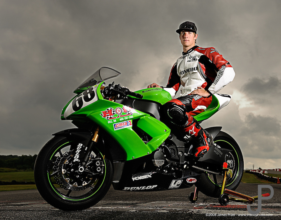 Eighteen year old Dustin Dominquez on his Kawasaki ZX-10 race bike at Hallett Raceway in Hallett, Oklahoma