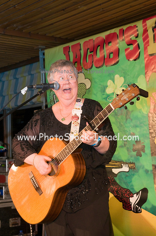 Christine Lavine a singer/songwriter/guitarist/recording artist performs at the Jacob's Ladder Music Festival. Nof Ginosar Israel