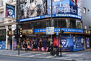 Closed doors of the Sondheim Theatre which is showing Les Miserables in the West End as the national coronavirus lockdown three continues and theatres have to remain shut on 28th January 2021 in London, United Kingdom. Following the surge in cases over the Winter including a new UK variant of Covid-19, this nationwide lockdown advises all citizens to follow the message to stay at home, protect the NHS and save lives.