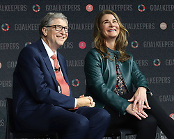 Bill Gates and Melinda Gates speak at the Bill and Melinda Gates foundation's Goalkeepers event at Jazz at Lincoln Center in New York.