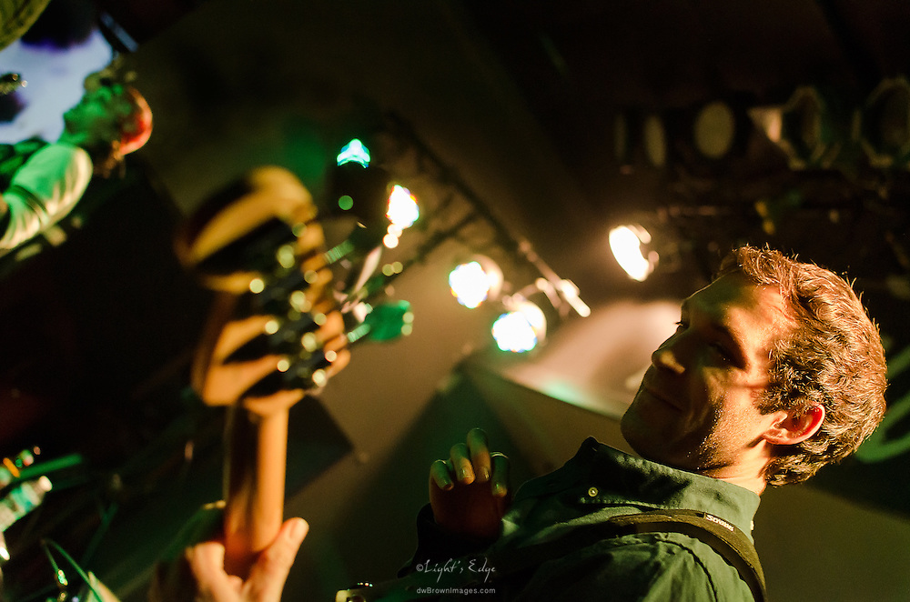 Sam Morgan, of Long Miles, on bass during their performance at The Blockley in Philadephia, PA.