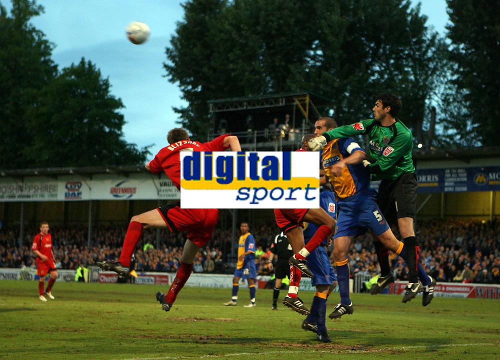 Photo: Rich Eaton.<br /> <br /> Shrewsbury Town v Milton Keynes Dons. Coca Cola League 2. Play off Semi Final, 1st Leg. 14/05/2007. Shrewburys goalkeeper Scott Shearer punches clear in the second half