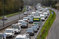 "© Licensed to London News Pictures. 29/03/2021. London, UK. Heavy traffic seen on the A3 Kingston Bypass heading into London this morning as the ""Stay at Home"" government advice ends. From today, Monday 29 March, the ""Stay at Home"" advice will end with people being allowed to meet up within the ""rule of six"". Playing golf, tennis and organised outdoor sports will also be allowed as England starts to unlock after a year of Covid-19 restrictions. Photo credit: Alex Lentati/LNP"