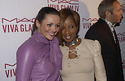 Martine McCutcheon and Mary J. Blige. Mary J. Blige launch aids fundraising lipstick from Mac.  Criterion. 22 April 2002. © Copyright Photograph by Dafydd Jones 66 Stockwell Park Rd. London SW9 0DA Tel 020 7733 0108 www.dafjones.com