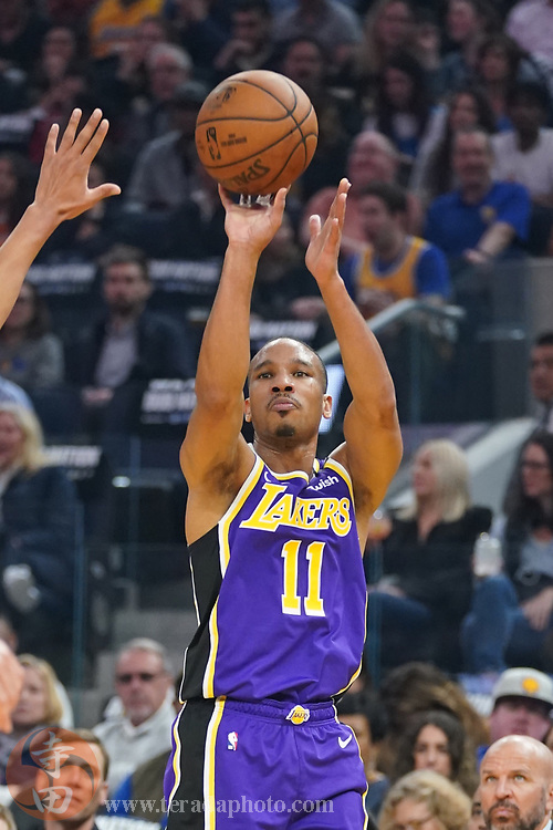 February 27, 2020; San Francisco, California, USA; Los Angeles Lakers guard Avery Bradley (11) shoots the basketball against the Golden State Warriors during the first quarter at Chase Center.