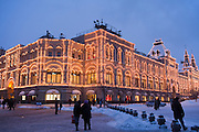 Moscow, Russia, 22/01/2011..Exterior of the GUM central department store on Red Square.