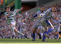 Celtic v Dunfermline, Scottish Premier League, Celtic Park, Glasgow..<br />Pic Ian Stewart,  Saturday September 8th. 2001<br />Moravcik tries for his 3rd goal but the ball rebounds off Chris McGroarty as Rossi looks on