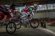#155 (KLESHCHENKO Evgeny) RUS and #373 (BLANC Renaud) SUI at the 2016 UCI BMX Supercross World Cup in Manchester, United Kingdom<br /> <br /> A high res version of this image can be purchased for editorial, advertising and social media use on CraigDutton.com<br /> <br /> http://www.craigdutton.com/library/index.php?module=media&pId=100&category=gallery/cycling/bmx/SXWC_Manchester_2016