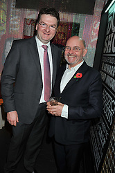 Left to right, EWAN VENTERS Food and catering director, Selfridges and BRIAN BOYLAN at a Mexican Feast cooked by Thomasina Miers in aid of the charity Too Many Women held at Wahaca Soho, 80 Wardour Street, London on 9th November 2011.