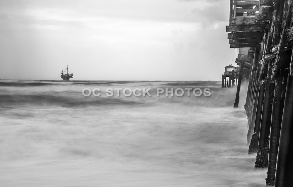 Seal Beach Pier Black and White Stock Photo