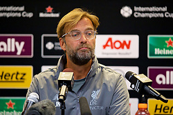 ANN ARBOR, USA - Friday, July 27, 2018: Liverpool's manager Jürgen Klopp during a pre-match press conference ahead of the preseason International Champions Cup match between Manchester United FC and Liverpool FC at the Michigan Stadium. (Pic by David Rawcliffe/Propaganda)