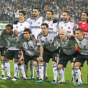 Besiktas's players (Left to Right) (Front Row) Ismail Koybası, Manuel Fernandes, Veli Kavlak, Roberto Hilbert, Fabian Ernst, Filip Holosko (Back Row) (Left to Right) Necip Uysal, Hugo Almedia, Egemen Korkmaz, Tomas Sivok, goalkeeper Rustu Rencber during their UEFA Europa League Group Stage Group E soccer match Besiktas between Stoke City at Inonu stadium in Istanbul Turkey on Wednesday December 14, 2011. Photo by TURKPIX