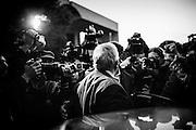 L'euro parlamentare della Lega Nord, Mario Borghezio, al sit-in di solidarieta' non autorizzato per il pestaggio di un pensionato nel quartiere Serpentara-Fidene,. Roma 14 Novembre 2014.  Christian Mantuano / OneShot