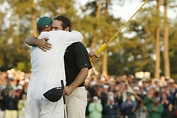 April 14, 2008 - Trevor Immelman celebrates his winning putt on No. 18 with caddie Neil Wallace during the final round of the Masters tournament at Augusta National, Sunday, April 13, 2008, in Augusta, Georgia. (C. Aluka Berry/The State/MCT) (Credit Image: © C. Aluka Berry/MCT/ZUMAPRESS.com)