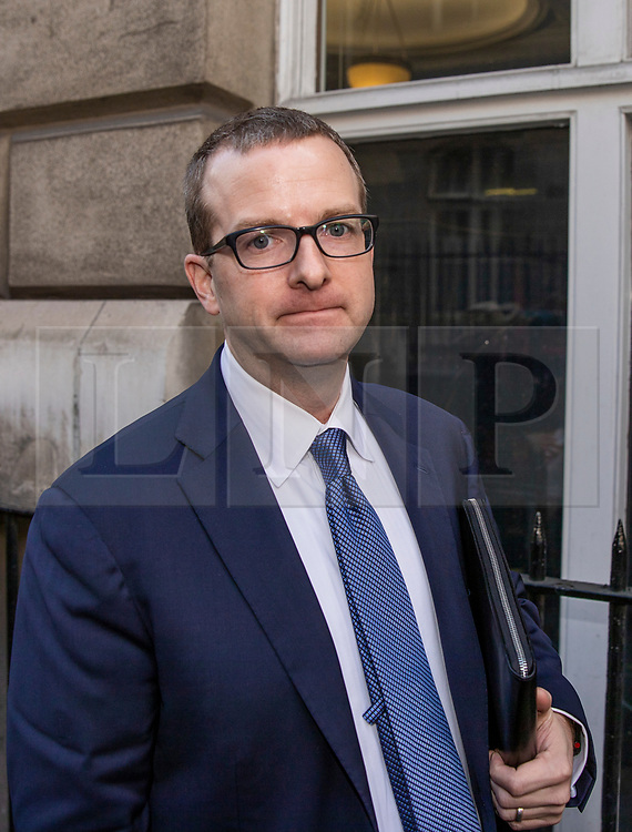 © Licensed to London News Pictures. 26/04/2018. London, UK. Facebook Chief Technology Officer (CTO) Mike Schroepfer leaves Portcullis House after appearing in front of a Select Committee. Photo credit: Rob Pinney/LNP