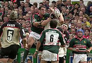 Leicester, Leicestershire, 3rd May 2003, Welford Road Stadium, [Mandatory Credit: Peter Spurrier/Intersport Images],Zurich Premiership Rugby - Leicester Tigers v London Irish<br /> Martin Johnson contesting the high ball