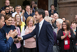 © Licensed to London News Pictures . 20/09/2014 . Manchester , UK . Labour Party leader ED MILIBAND arrives at the Midland Hotel in Manchester with his wife Justine Thornton , ahead of the Labour Party Conference . Photo credit : Joel Goodman/LNP