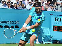 Tennis - 2018 Queen's Club Fever-Tree Championships - Day One, Monday<br /> <br /> Men's Singles, First Round: Stan Wawrinka (SUI) vs. Cameron Norrie (GBR)<br /> <br /> Cameron Norrie, on Centre Court.<br /> <br /> COLORSPORT/ANDREW COWIE