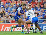 Warrington Wolves Ryan Atkins grapples with Wakefield Trinity Wildcats Reece Lyne during the Ladbrokes Challenge Cup Semi-Final  match Warrington Wolves -V- Wakefield Trinity Wildcats at , Leigh, Greater Manchester, England on Saturday, July 30, 2016. (Steve Flynn/Image of Sport)
