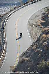 Thomas Trapp, owner of the Harley-Factory Frankfurt dealership in Germany on his 1916 Harley-Davidson heads up the steep mountain pass just out of Palm Desert on the Palms to Pines Scenic Byway on the last day of the Motorcycle Cannonball Race of the Century. Stage-15 ride from Palm Desert, CA to Carlsbad, CA. USA. Sunday September 25, 2016. Photography ©2016 Michael Lichter.