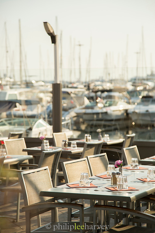 Modern restaurant over bay side, Golfe-Juan, France.