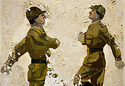 On the edge of an old Soviet parade ground, peeling murals show the physical style of Russian marching techniques seen in this army boot camp in the former East German peninsular called Halbinsel Wustrow near Rostock. For the benefit of recruits or as a reminder of Soviet discipline, the picture shows soldiers marching in that unmistakable goose-stepping style reminiscent of the Nazi era, with high forward kicks and a strenuous arm movement to the chest as seen in iconic May Day celebrations in Red Square. Wustrow was once a WW2 German anti-aircraft artillery position then housed civilian refugees before the eventual Soviet occupation of the former DDR during the Cold War, up until 1990 and the fall of communism and the Berlin Wall. The camp was ransacked and all its assets stripped before its desertion that summer and is a reminder of a fallen ideology