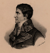 Lucien Bonaparte (1775-1840) prince of Canino, younger brother of Napoleon Bonaparte. Having criticised his brother's policy against Rome, he felt it wise to leave Roman territory. In 1810 he set out for America but was captured by the English and held until 1814, when he returned to Italy. Lithograph c1830.