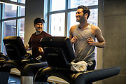 MANHATTAN, NEW YORK. JANUARY 14TH, 2018.- Pauls takes Wesley with hime to the Equinox gym at 92nd street. There the boy will go to the kinder garden and Paul will meet Jeremy for some workout.<br /> <br /> Sunday routine with Jeremy Lyman and Paul Schlader, friends and co-founders of Birch Coffee  a New York City born and bred specialty coffee company. <br /> <br /> Jeremy Lyman, 38, lives in East Harlem with his two female pitbulls, Maki, 10, and Juna, 7. Paul Schlader, 39, lives on the Upper East Side with his wife Kara, 35, the head of accounts payable for Birch Coffee, and their two children, Ava, 6, and Wesley, 3.<br /> <br /> (photo EDU BAYER)