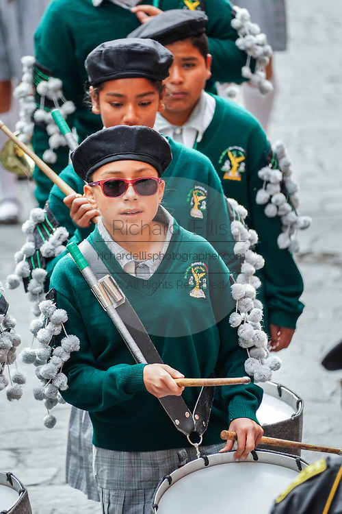 Young school girls march in a band during a parade to celebrate the 251st birthday of the Mexican Independence hero Ignacio Allende January 21, 2020 in San Miguel de Allende, Guanajuato, Mexico. Allende, from a wealthy family in San Miguel played a major role in the independency war against Spain in 1810 and later honored by his home city by adding his name.
