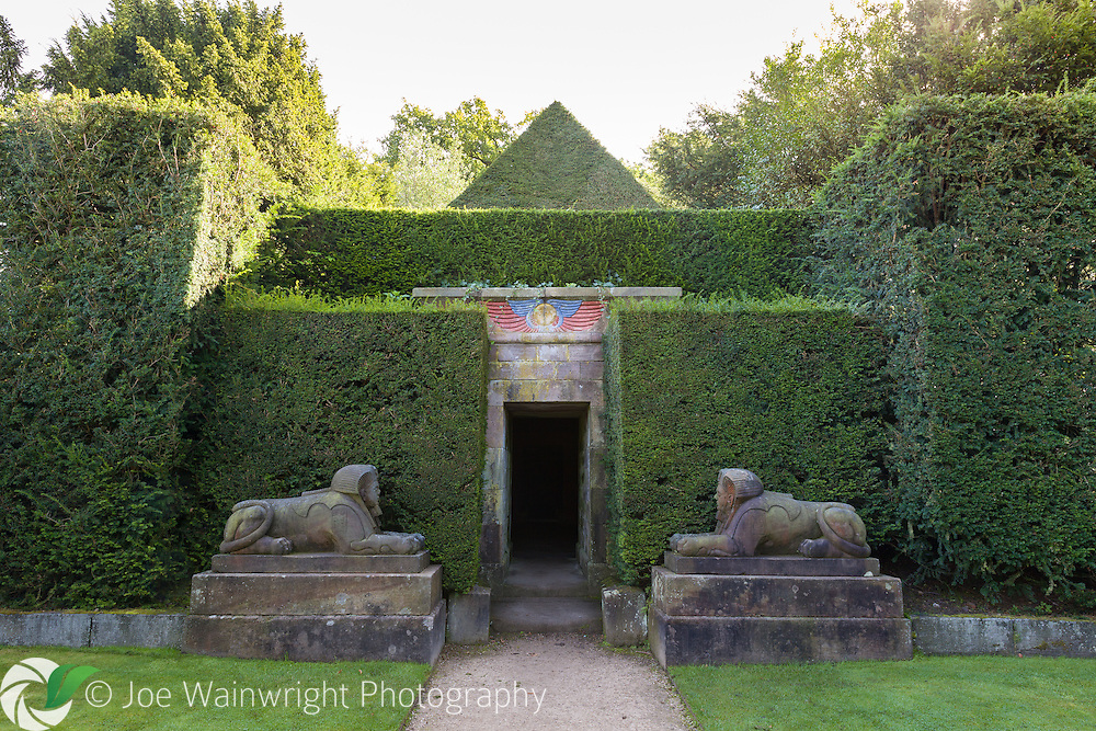 The entrance to a 'temple' in the Egypy area of Biddulph Grange Garden, Staffordshire Image available for editorial use - please contact me for details