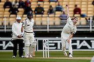 Warwickshire Chris Woakes bowls during the Specsavers County Champ Div 1 match between Warwickshire County Cricket Club and Yorkshire County Cricket Club at Edgbaston, Birmingham, United Kingdom on 24 April 2016. Photo by Simon Davies.
