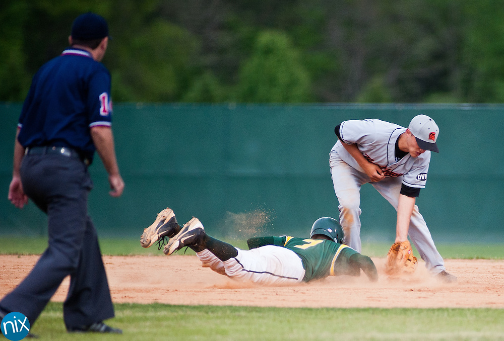 Central Cabarrus' Kyle Cliff slides into second base against Northwest Cabarrus Thursday afternoon at Central Cabarrus High School. Central was leading 3-2 when the game was suspended due to weather in the fourth inning. (photo by James Nix)