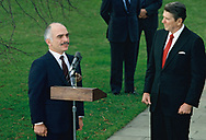 Preesident Ronald Reagan and King Hussein of Jordan meet at the White House on December 23, 1982<br />Photo by Dennis Brack