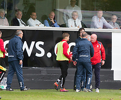 Dunfermline's manager Allan Johnston and Falkirk's manager Peter Houston at the end. Dunfermline 1 v 2 Falkirk, Scottish Championship game played 22/4/2017 at Dunfermline's home ground, East End Park.