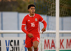 BANGOR, WALES - Saturday, November 17, 2018: Wales' Christian Norton celebrates scoring the second goal to make the score 2-1 during the UEFA Under-19 Championship 2019 Qualifying Group 4 match between Sweden and Wales at the Nantporth Stadium. (Pic by Paul Greenwood/Propaganda)