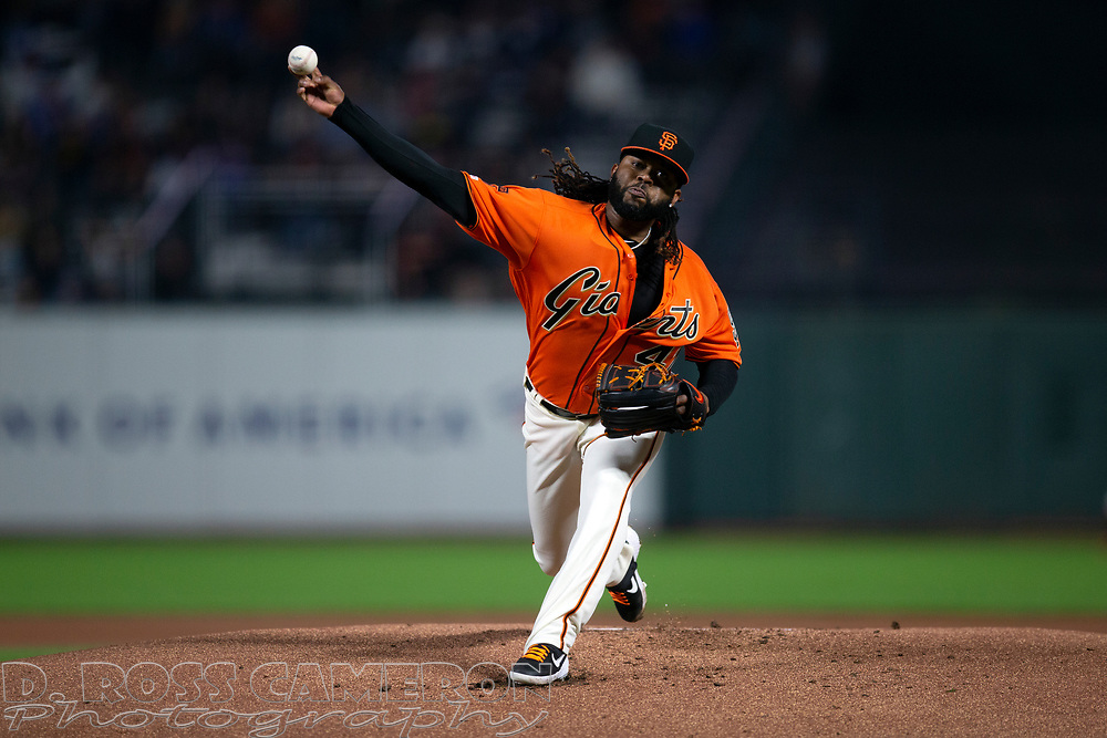 Sep 27, 2019; San Francisco, CA, USA; San Francisco Giants starting pitcher Johnny Cueto (47) delivers against the Los Angeles Dodgers during the first inning of a baseball game at Oracle Park. Mandatory Credit: D. Ross Cameron-USA TODAY Sports