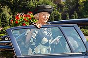 Prinses Beatrix woont de opening bij van de 79e zitting van het Institut de Droit international (IDI) in de Grote Rechtszaal van het Vredespaleis in Den Haag.<br /> <br /> Op de foto: Prinses Beatrix