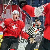 14.05.2019; Bratislava; Eishockey Weltmeisterschaft 2019 - Schweiz - Oesterreich; Kevin Fiala (SUI) jubelt nach dem Tor zum 1:0 (Andy Mueller/freshfocus)