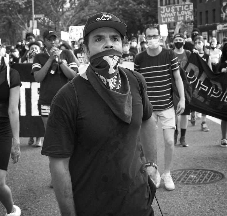 NEW YORK, NEW YORK:  Power Malu leads demonstrators during a Black Lives Matter march.  ©Brian Branch-Price/TheFotodesk.