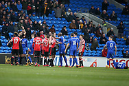 Didier Ndong of Sunderland (l) is shown red card and sent off by referee Andrew Madley after a bad tackle/foul on Junior Hoilett of Cardiff city ® . EFL Skybet championship match, Cardiff city v Sunderland at the Cardiff city stadium in Cardiff, South Wales on Saturday 13th January 2018.<br /> pic by Andrew Orchard, Andrew Orchard sports photography.