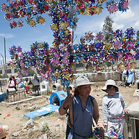 A vendor sells shiny windmills on the day of the dead in a highland graveyard in Bolivia.