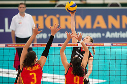 06.09.2013, Gery Weber Stadion, Halle, GER, Volleyball EM 2013, Deutschland vs Spanien, im Bild,, Block/ Doppelblock Maria Isabel Fernandez Conde (#3 ESP), Patricia Aranda Munoz (#9 ESP) - Angriff Heike Beier (#12 GER) // during the volleyball european championchip match between Germany and Spain at the Gery Weber Stadion in Halle, Germany on 2013/09/06. EXPA Pictures © 2013, PhotoCredit: EXPA/ Eibner/ Kurth<br /> <br /> ***** ATTENTION - OUT OF GER *****