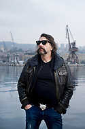 Damir 'Mrle' Martinović, bass player and frontman of the legendary Croatian rock band from Rijeka, Let 3, on the waterfront in Rijeka, during the opening weekend of Rijeka2020, European Capital of Culture 2020, Croatia © Rudolf Abraham