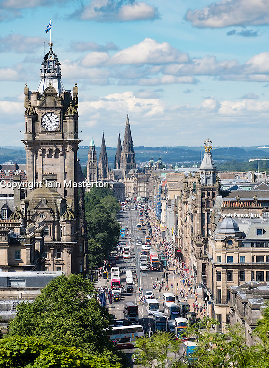 View along Princes Street and skyline of city of Edinburgh from Calton Hill in Scotland United Kingdom