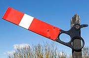 Old railway semaphore signal sign Wrabness  Essex, England, Uk