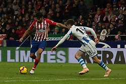 October 27, 2018 - Madrid, Madrid, Spain - Diego Costa (L) shoot to goal in front of Aritz (R)..during the match between Atletico de Madrid vs Real Sociedad. Atletico de Madrid won by 2 to 0 over Real Sociedad whit goals of Godin and Filipe Luis. (Credit Image: © Jorge Gonzalez/Pacific Press via ZUMA Wire)