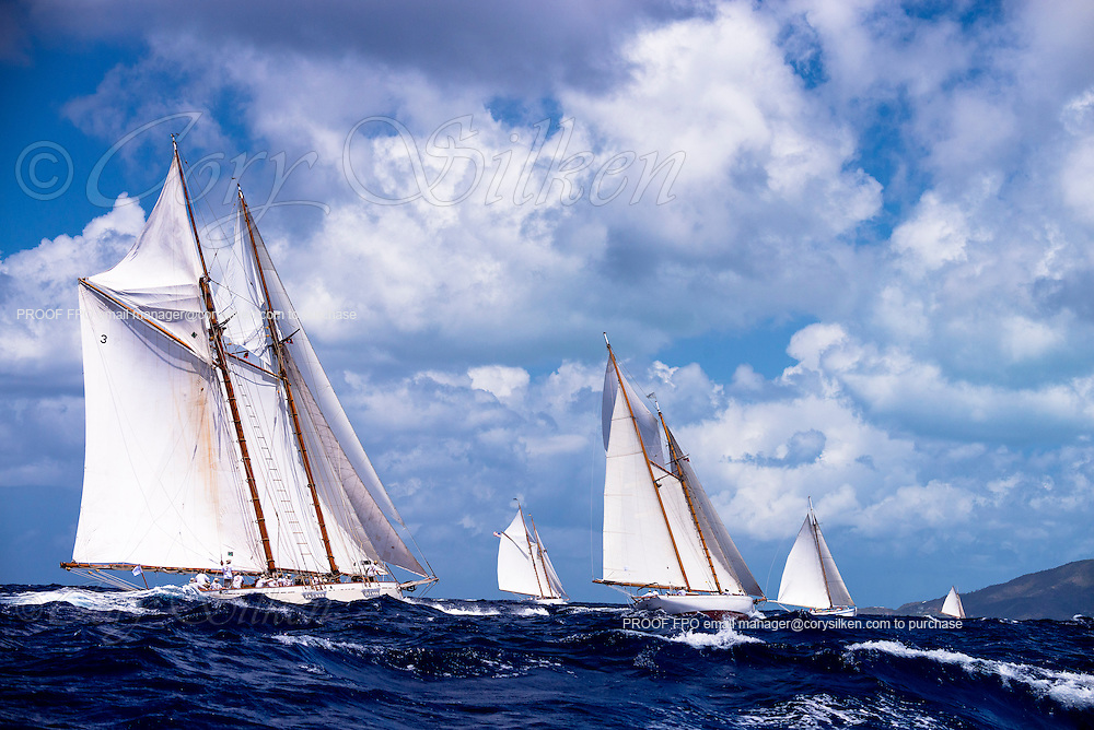 Coral sailing in the Old Road Race of the Antigua Classic Yacht Regatta.